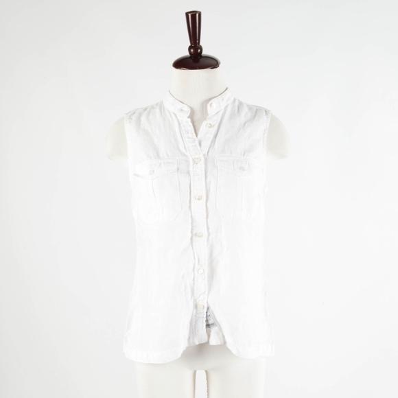 Escales Tops - ESCALES Paris – White Sleeveless Linen Top – Large